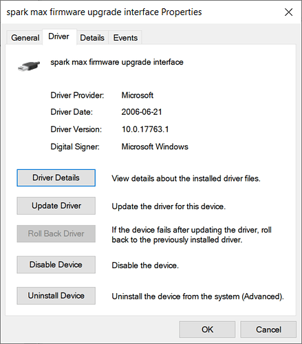 Spark max Firmware upgrade Driver
