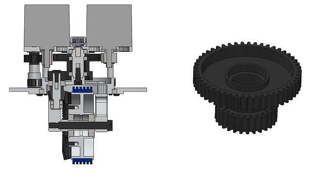 Cross Section with double gear