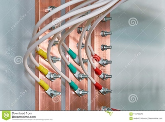 electric-bus-bars-connected-to-wires-cables-cable-lugs-nuts-bolts-accumulation-interlacing-110708678