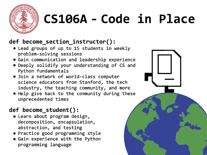 CS106A Code In Place Flyer