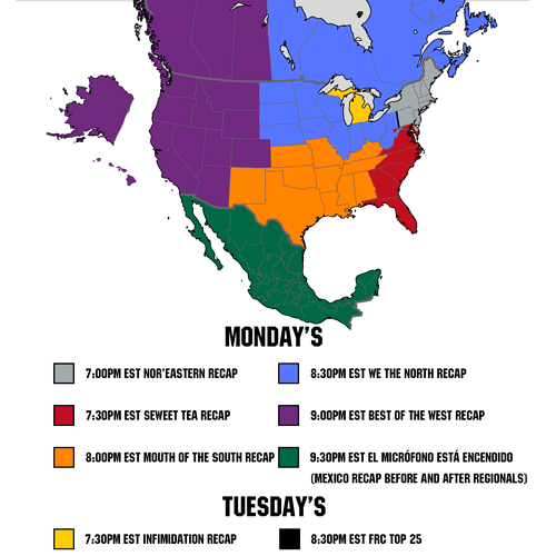 RR all regions with with times